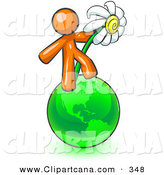Vector Clip Art of a Shiny Orange Man Standing on the Green Planet Earth and Holding a White Daisy, Symbolizing Organics and Going Green for a Healthy Environment by Leo Blanchette