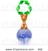 Vector Clip Art of a Shiny Orange Man Standing on Top of the Blue Planet Earth and Holding up Three Green Arrows Forming a Triangle and Moving in a Clockwise Motion, Symbolizing Renewable Energy and Recycling by Leo Blanchette