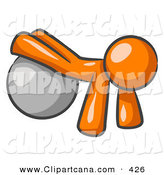 Vector Clip Art of a Shiny Orange Man Strength Training His Arms and Legs While Using a Yoga Exercise Ball by Leo Blanchette