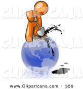 Vector Clip Art of a Shiny Orange Man Using a Shovel to Drill Oil out of Planet Earth by Leo Blanchette