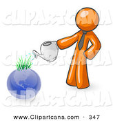 February 7th, 2013: Vector Clip Art of a Shiny Orange Man Using a Watering Can to Water New Grass Growing on Planet Earth, Symbolizing Someone Caring for the Environment by Leo Blanchette