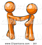 February 10th, 2013: Vector Clip Art of a Shiny Orange Man Wearing a Tie, Shaking Hands with Another upon Agreement of a Business Deal by Leo Blanchette