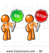 Vector Clip Art of a Shiny Orange Men Holding Red and Green Stop and Go Signs by Leo Blanchette
