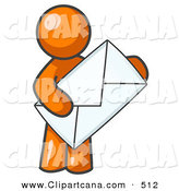 Vector Clip Art of a Shiny Orange Person Standing and Holding a Large Envelope, Symbolizing Communications and Email by Leo Blanchette