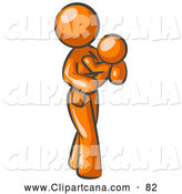 Vector Clip Art of a Shiny Orange Woman Carrying Her Child in Her Arms, Symbolizing Motherhood and Parenting by Leo Blanchette