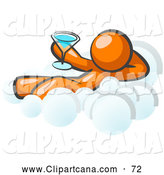 Vector Clip Art of a Shiny Relaxed Orange Man Drinking a Martini and Kicking Back on Cloud Nine by Leo Blanchette