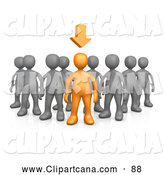 Vector Clip Art of a Single Orange Person Leading a Group of Gray People, an Arrow Above His Head by 3poD