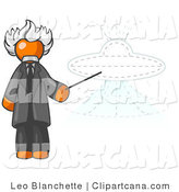 Vector Clip Art of a Smart Orange Einstein Man Pointing a Stick at a Presentation of a Flying Saucer by Leo Blanchette