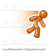 Vector Clip Art of a Speedy Orange Business Person Running by Leo Blanchette