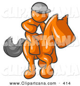 Vector Clip Art of a Sporty Orange Man, a Jockey, Riding on a Race Horse and Racing in a Derby by Leo Blanchette
