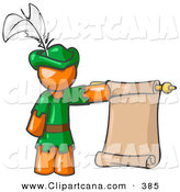 Vector Clip Art of a Sporty Orange Man Dressed As Robin Hood with a Feather in His Hat, Holding a Blank Scroll and Acting As a Pageboy by Leo Blanchette