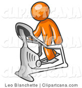 Vector Clip Art of a Sporty Orange Man Exercising on a Stair Climber During a Cardio Workout in a Fitness Gym by Leo Blanchette