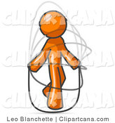 Vector Clip Art of a Sporty Orange Man Jumping Rope During a Cardio Workout by Leo Blanchette