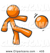 Vector Clip Art of a Sporty Orange Man Kicking a Ball Really Hard While Playing a Game by Leo Blanchette