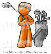 Vector Clip Art of a Sporty Orange Man Standing by His Golf Clubs by Leo Blanchette