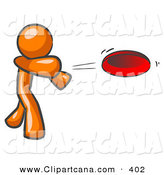 Vector Clip Art of a Sporty Orange Man Tossing a Red Flying Disc Through the Air for Someone to Catch by Leo Blanchette