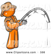Vector Clip Art of a Sporty Orange Man Wearing a Hat and Vest and Holding a Fishing Pole by Leo Blanchette