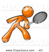 Vector Clip Art of a Sporty Orange Woman Preparing to Hit a Tennis Ball with a Racquet by Leo Blanchette