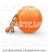 Vector Clip Art of a Strong Orange Business Man Pushing an Orange Sphere Forward by Leo Blanchette