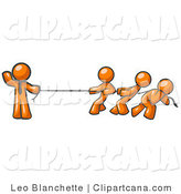 Vector Clip Art of a Strong Orange Businessman Holding One End of Rope While Three Others Pull on the Other Side During Tug of War by Leo Blanchette