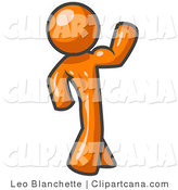 Vector Clip Art of a Strong Orange Man Flexing His Muscles by Leo Blanchette