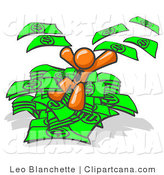 Vector Clip Art of a Successful Orange Business Man Jumping in a Pile of Money and Throwing Cash into the Air by Leo Blanchette