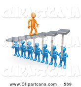 Vector Clip Art of a Successful Orange Man Walking Upwards on Steps That Are Held by Blue Men Below, Symbolizing Support, Trust and Achievement by 3poD