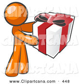 Vector Clip Art of a Thoughtful Orange Man Holding a Christmas, Birthday, Valentines Day or Anniversary Gift Present Wrapped in White Paper with Red Ribbon and a Bow by Leo Blanchette