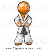 Vector Clip Art of a Tough Orange Man in a White Karate Suit Gi and a Black Belt, Standing with His Hands on His Hips by Leo Blanchette