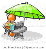 Vector Clip Art of a Traveling Orange Business Man Sitting Under an Umbrella at a Table Using a Laptop Computer While Sipping a Drink by Leo Blanchette