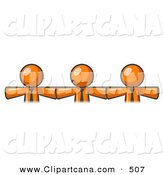 Vector Clip Art of a Trio of Orange Businessmen Wearing Ties, Standing Arm to Arm, Symbolizing Team Work, Support, Interlinking, Interventions, Etc by Leo Blanchette