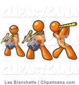 Vector Clip Art of a Trio of Orange Men Playing Flutes and Drums at a Music Concert by Leo Blanchette