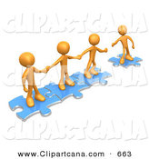 Vector Clip Art of a Trio of Orange People Holding Hands and Standing on Blue Puzzle Pieces, with One Man Reaching out to Connect Another to Their Group by 3poD