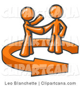 Vector Clip Art of a Two Orange Salesmen Shaking Hands with a Client While Making a Deal by Leo Blanchette