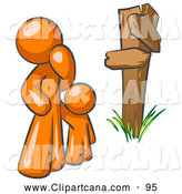 Vector Clip Art of a Uncertain Orange Man and Child Standing at a Wooden Post, Trying to Decide Which Direction to Go at a Rural Crossroads by Leo Blanchette