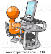 Vector Clip Art of a White Man Sitting at a Computer with a Scanner at His Side by Leo Blanchette