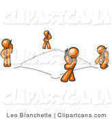 Vector Clip Art of a Wireless Telephone Network of Four Orange Men Talking on Cell Phones by Leo Blanchette