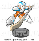 Vector Clip Art of an Hockey Player Orange Man by Leo Blanchette
