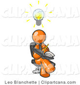 Vector Clip Art of an Intelligent Orange Man Seated with His Legs Crossed, Brainstorming and Writing Ideas down in a Notebook, Lightbulb over His Head by Leo Blanchette