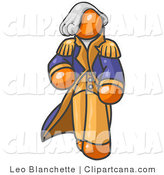 Vector Clip Art of an Old Fashioned Orange George Washington Character by Leo Blanchette