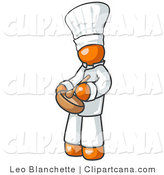 Vector Clip Art of an Orange Baker Chef Cook in a White Uniform and Chef's Hat, Stirring Ingredients in a Bowl by Leo Blanchette
