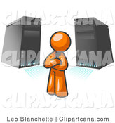 Vector Clip Art of an Orange Business Man Standing in Front of Black Servers by Leo Blanchette