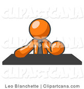 Vector Clip Art of an Orange Business Person Seated at a Desk During a Meeting by Leo Blanchette