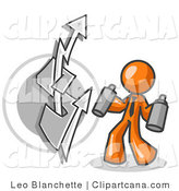 Vector Clip Art of an Orange Business Person Spray Painting a Graffiti Dollar Sign on a Wall by Leo Blanchette