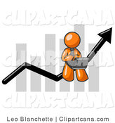 Vector Clip Art of an Orange Business Person Using a Laptop Computer, Riding the Increasing Arrow Line on a Business Chart Graph by Leo Blanchette