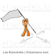 Vector Clip Art of an Orange Businessman Claiming Territory or Capturing the Flag by Leo Blanchette