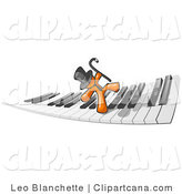 Vector Clip Art of an Orange Businessman Dancing and Walking on a Piano Keyboard by Leo Blanchette