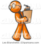 Vector Clip Art of an Orange Businessman Holding a Clipboard While Reviewing Employees by Leo Blanchette