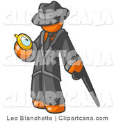 Vector Clip Art of an Orange Businessman in Black Checking His Pocket Watch by Leo Blanchette
