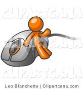 Vector Clip Art of an Orange Businessman Leaning Against a Computer Mouse by Leo Blanchette